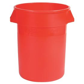 Rubbermaid Brute Plastic Trash Container: 10 gal Capacity, Red, 15 3/4 in Top Dia, 17 in Overall Ht, UV Protectant