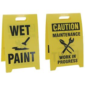 Maintenance Sign: 20 in Overall Ht, 12 in Overall Wd, Plastic, Floor