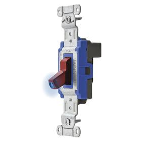 Hubbell Wiring Device-Kellems Illuminated Toggle Light Wall Switch: 1-Pole, Red, Commercial Grade, Light On with Load Off