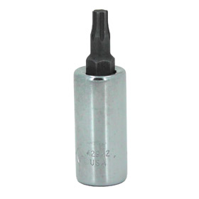 Standard Socket Bit: Imperial, Torx, 1/4 in Drive Size, For T30 Fastener Size, 1 3/4 in Overall Lg, Chrome, Steel
