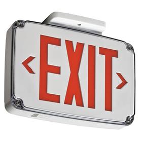 Acuity Lithonia Lighted Exit Sign: 2 Faces, Directional Indicators, Red, 8 1/8 in Overall Ht, 12 1/2 in Overall Lg, Plastic