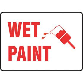 Accuform Maintenance Sign: 10 in Overall Ht, 14 in Overall Wd, Plastic, Mounting Holes, Wet Paint, English, White, 25 PK