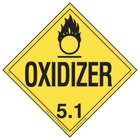 DOT Vehicle Placard: Oxidizer 5.1, 10 3/4 in Overall Ht, 14 1/3 in Overall Wd, Tagboard, Yellow, 5 Dangerous Goods Class