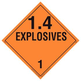DOT Vehicle Placard: 1.4 Explosives, 10 3/4 in Overall Ht, 14 1/3 in Overall Wd, Vinyl, Transporting, Orange, 10 PK
