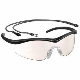 MCR Safety Glasses: Clear Mirror, Half Frame, Anti-Fog/Scratch Resistant, Black, ANSI Z87+, Nylon, Neck Cord