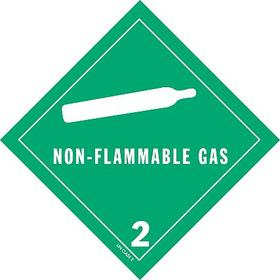 DOT Hazardous Material Label: Non-Flammable Gas 2, 4 in Label Ht, 4 in Label Wd, Paper, 500 PK