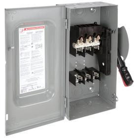 Schneider Electric Heavy Duty Safety Disconnect Switch: Three Phase, 3 Poles, Steel, 60 A @ 600V AC Switch Rating, Indoor
