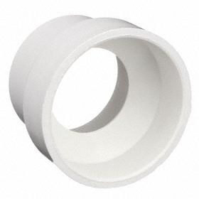 PVC Pipe Reducer: Hub, Slip Joint, Reducer Fitting Type, 6 Pipe Size (Port 1), Female, 4 Pipe Size (Port 2), White