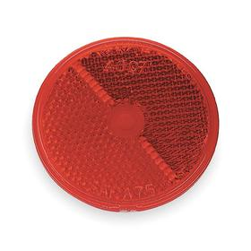 Self-Adhesive Vehicle Reflector: Circle, Red, 2 1/2 in Overall Dia, Acrylic, Permanent