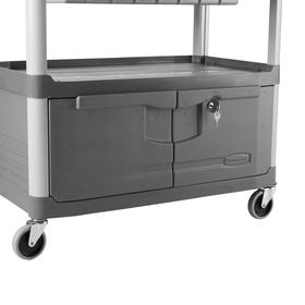 Dual-Handle Plastic Shelf Service Cart: 300 lb Max Load Capacity, 2 Shelves, Locking Cabinet, 31 1/2 in Shelf Lg, Gray