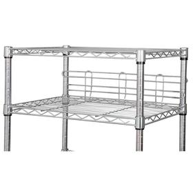 Wire Shelf Ledge: For 72 in Wire Shelves, 6 in Ht, 72 in Wd, Chrome-Plated Steel, 2 PK