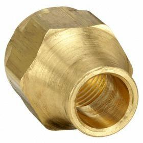 "Parker Hannifin Brass 45° Flare Tube Nut: Short Nut, 1/4 in Port 1 Tube Size, 7/16""-20 Thread Size, 10 PK"