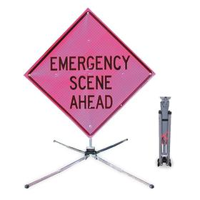 Dicke Traffic Sign: 78 in Overall Ht, 68 in Overall Wd, Vinyl, Floor, Emergency Scene Ahead, Text, Antislip Surface