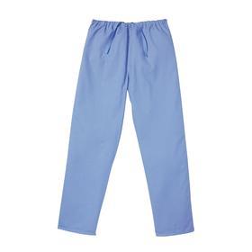 Landau Scrub Pant: Polyester/Cotton, Blue, Drawstring, 2 Pockets, 38 in Max Waist Size, 31 in Inseam Lg, Unisex, L Size