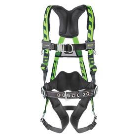 Honeywell Miller Harness for Positioning & Climbing: 4 D-Rings, Vest, With Belt, Stretchable Polyester, 1 Back, 1 Front, 2 Side D-Rings, Cam