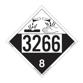 DOT Vehicle Placard: 3266 8, 10 3/4 in Overall Ht, 14 1/3 in Overall Wd, Tagboard, Black/White, 8 Dangerous Goods Class