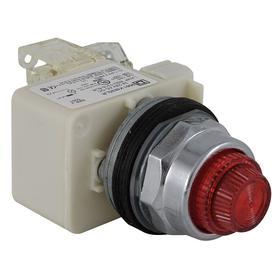 Schneider Electric Pilot Light: Push to Test Pilot Light, 24V AC/DC, Full Volt, For 24 V DC/24 V AC, Includes Bulb, For BA 9s
