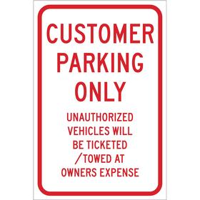Brady Parking Sign: 18 in Overall Ht, 12 in Overall Wd, Aluminum, High Intensity, White