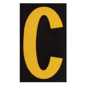 Brady Letter Label: 1 in Character Ht, Yellow, Black, C, Retroreflective Sheeting, 1 in Character Wd, Outdoor, 25 PK