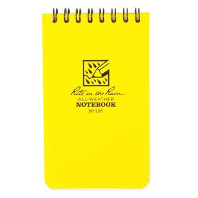 Weatherproof Notebook: Quadrille, Yellow, Top Spiral, 5 in Sheet Lg, 3 in Sheet Wd, 50 Sheets, White