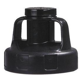 Quick-Identify Lid: Round, Pump/Pour, Black, High-Density Polyethylene, 5 13/16 in Lid OD, 4 3/4 in Overall Ht