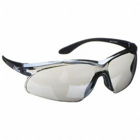 Safety Glasses: Gray Mirror, Wraparound Frame, Scratch Resistant, Black, ANSI Z87.1-2010, Polycarbonate, 49.37 in Arm Lg