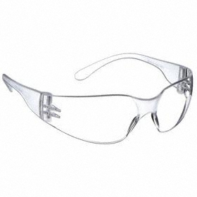 Safety Glasses: Clear, Wraparound Frame, Uncoated, Clear Frosted, ANSI Z87.1-2010, Polycarbonate, 44.88 in Arm Lg