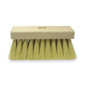 Roofing Brush: Asphalt/Metal/Plastic Surfaces/Wood, White, Durable 2 in Lg White Tampico Fill on 7 in Wooden Block, Wood