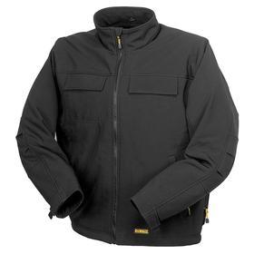 DeWalt Soft Shell Work Jacket: Polyester/Spandex, Black, Zipper, Men, 4 Pockets, Polyester, S Size, ANSI Class 3