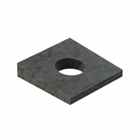 Zinc-Plated Steel Leveling Washer: For M8 Screw Size, 9 mm ID, 22 mm Square Size, 4.6 mm Thicker End Thickness, 10 PK