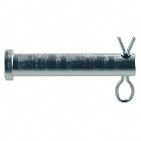 Clevis Pin: Steel, Zinc Plated, 3/8 in Shank Dia, 1 49/64 in Usable Lg, 2 in Overall Lg, 0.51 in Head Dia, Hairpin, 5 PK
