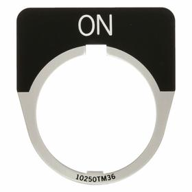 Eaton Push Button Legend Plate: 30 mm Compatible Panel Cutout Dia, 1/2 Round, On, Silver, 1.75 in Overall Wd, Black