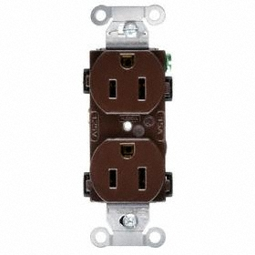 Hubbell Wiring Device-Kellems Duplex Receptacle: Brown, 2 Poles, 15 A Current, 125V AC, 5-15, Commercial Grade