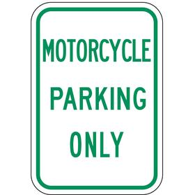 Lyle Parking Sign: 18 in Overall Ht, 12 in Overall Wd, Aluminum, High Intensity, Motorcycle Parking Only, White