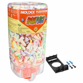 Ear Plugs with Dispenser: Tapered, Disposable, 33 dB Noise Reduction Rating, Polyurethane, Container, Multicolor, 500 PK