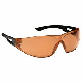 Edge Safety Glasses: Orange, Frameless Frame, Anti-Fog/Scratch Resistant, Black, ANSI Z87.1+2015/MCEPS GL-PD 10-12