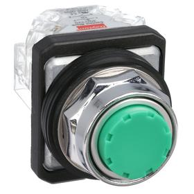 Non-Illuminated Push Button: 10 A @ 600V AC Contact Rating, Extended Operator, 1NO/1NC Pole-Throw Configuration, Green