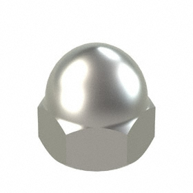 "Low Crown Acorn Nut: 18-8 Stainless Steel, 7/8""-14 Thread Size, 7/8 in Thread Dp, 1 23/64 in Overall Ht"