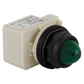 Schneider Electric Pilot Light: 120V AC, Full Volt, For LED, Green, Metal, Pressure Plate, AC Current Type, Plastic