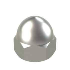 Low Crown Acorn Nut: 316 Stainless Steel, 10-32 Thread Size, 3/16 in Thread Dp, 3/8 in Wd, 10 PK