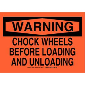 Brady Shipping & Receiving Sign: 10 in Overall Ht, 14 in Overall Wd, Aluminum, Mounting Holes, Warning, Orange