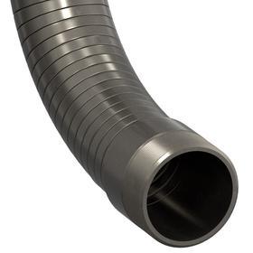 Metal Duct Hose: 2 in Hose ID, Stainless Steel, Rough, 2 1/4 in Hose OD, NPT, 8 in Bend Radius, -425° F Min Op Temp