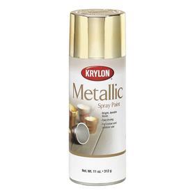 Krylon Spray Paint: Bright Gold, Metallic, 15 min Dry Time, 25 sq ft, 11 fl oz Container Size, Sprayer, Solvent