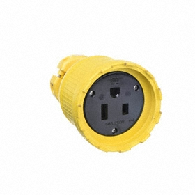 Weather-Resistant NEMA Straight-Blade Connector: 3 Blades, 6-50 NEMA Configuration, 250V AC, 50 A Current, Yellow