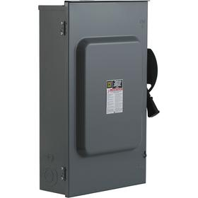 Schneider Electric Heavy Duty Safety Disconnect Switch: Three Phase, 3 Poles, Steel, 200 A @ 240V AC Switch Rating, Outdoor