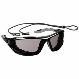 MCR Safety Glasses: Gray, Full Frame, Anti-Fog/Scratch Resistant, Black, ANSI Z87+, Polycarbonate, Adj Neck Cord