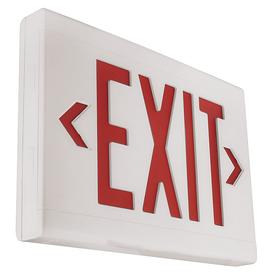 Hubbell Impact Resistant Plastic Lighted Exit Sign: 1/2 Faces, Directional Indicators, Red, 9 in Overall Ht, White