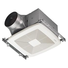 Bathroom Exhaust Fan: Quiet Operation, Steel, 6 in For Duct Dia, 110 cfm Max Air Flow, 10 1/2 in Housing Lg, 120V AC, White