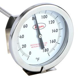 Dwyer Thermometer: 0.0° F Min Op Temp, 180.0° F Max Op Temp, Back, 1/4 in Stem Dia, 2.00 in Dial Dia, Stainless Steel