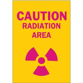 Brady Radiation Sign: 14 in Overall Ht, 10 in Overall Wd, Polyester, Self-Adhesive, Caution, Radiation Area, Yellow